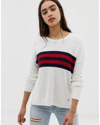 Hollister - Oversized Sweater With Stripe Panel - Lyst