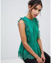 Ted Baker - Omarri Mixed Lace Peplum Top - Lyst
