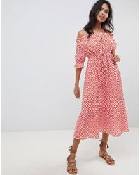 d46ee1e755abb ASOS - Off Shoulder Tiered Maxi Beach Dress In Red Chevron Print - Lyst