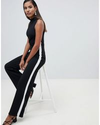 186004cf3bc Miss Selfridge - Side Stripe High Neck Jumpsuit - Lyst