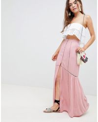 ASOS - Crinkle Maxi Skirt With Lace Trim Detail - Lyst