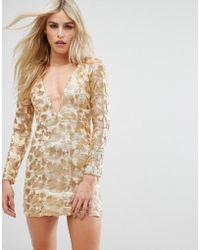 Love Triangle - V Neck Mini Dress In All Over Metallic Lace - Lyst