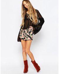 Daisy Street - Shorts With Pom Pom Hem In Floral Print - Lyst