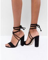 Public Desire - Suzu Black Tie Up Block Heeled Sandals - Lyst