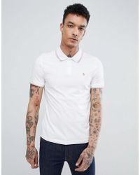 Original Penguin - Space Dye Tipping Polo Slim Fit Embroidered Logo In White - Lyst