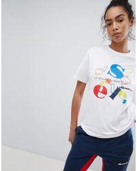 Ellesse - Heritage Boyfriend T-shirt With Jumbled Retro Logo - Lyst