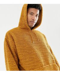 ASOS - Tall Oversized Hoodie In Brown Borg - Lyst