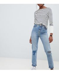 ASOS - Asos Design Tall Recycled Ritson Rigid Mom Jeans In Divinity Rich Mid Blue Wash With Rip & Repair Detail - Lyst