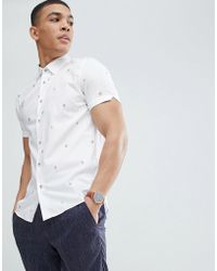 Ted Baker - Slim Short Sleeve Embroidered Shirt - Lyst