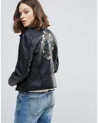Ichi - Faux Leather Biker Jacket - Lyst
