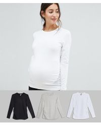 a95a607b4302b ASOS T-shirt With Long Sleeves And Crew Neck 3 Pack Save 10% in Black - Lyst
