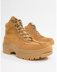 ASOS - Sneaker Boot In Tan Nubuck With Chunky Sole - Lyst
