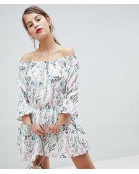Vila - Floral Ruffle Mini Skater Dress - Lyst