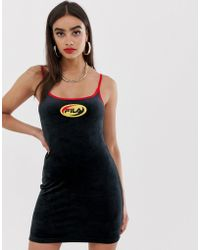 24be589e3cfad Fila - 90's Cami Dress With Front Logo In Velour - Lyst