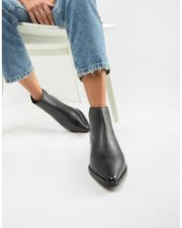 Accessorize - Flat Leather Studded Trim Boot - Lyst