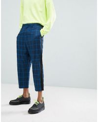 ASOS DESIGN - Asos Drop Crotch Tapered Suit Pants In Blue Oversized Check With Side Stripe - Lyst