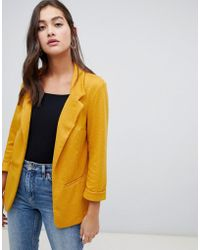 New Look - Textured Blazer In Yellow - Lyst