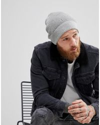 AllSaints - Trias Beanie In Light Gray - Lyst