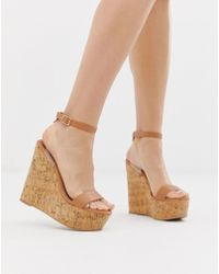 ASOS - Teaser High Wedges With Clear Strap - Lyst