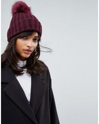 Warehouse - Cable Knit Pom Pom Beanie Hat - Lyst