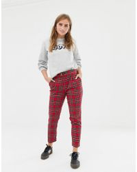 New Look - Tapered Trousers In Red Tartan - Lyst