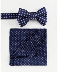 ASOS - Bow Wedding Tie And Pocket Sqaure In Ditsy Floral - Lyst