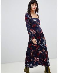 9304710b99c38 Mango Wide Sleeve Maxi Dress In Floral Print in Red - Lyst