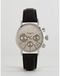 Simon Carter - Lt001 Chronograph Leather Watch In Black - Lyst
