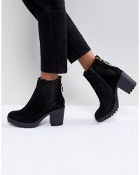 River Island - Chunky Heel Zip Back Heeled Boots - Lyst