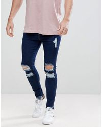 SIKSILK - Muscle Fit Jeans In Darkwash Blue With Distressing - Lyst