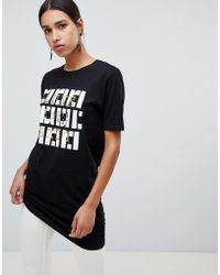 River Island - Oversized T-shirt With Mono Motif In Black - Lyst