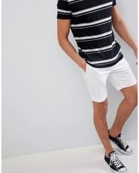 ASOS - Slim Mid Length Smart Shorts In White Cotton Sateen - Lyst