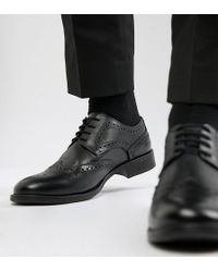 Frank Wright - Wide Fit Brogues In Black Leather - Lyst
