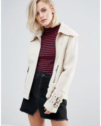 Pepe Jeans - Ginna Exposed Faux Shearling Biker Jacket - Lyst