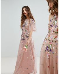 ASOS - Design Bridesmaid Floral Embroidered Dobby Mesh Flutter Sleeve Maxi Dress - Lyst