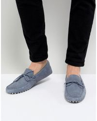 ASOS - Design Driving Shoes In Blue Suede With Tie Front - Lyst