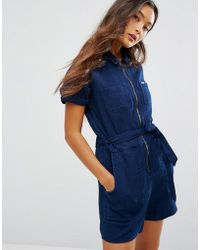 Lee Jeans - 70s Inspired Indigo Playsuit - Lyst