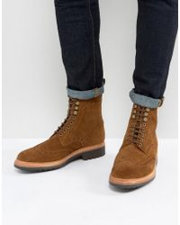 Grenson - Fred Suede Brogue Boots - Lyst