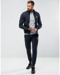 EA7 | Cotton Zip Through Tracksuit Set In Navy | Lyst