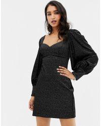ccf01577b24c Forever New - Vestitino in velluto nero con maniche a palloncino - Lyst