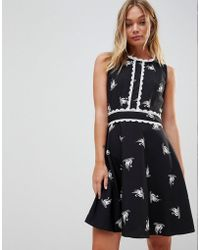 Trollied Dolly - Swan Print Skater Dress With Trim Detail - Lyst
