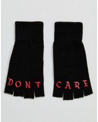 ASOS - Fingerless Gloves In Black With Don't Care Print - Lyst