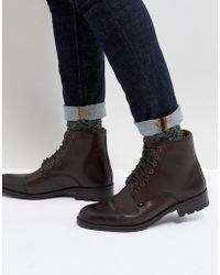 Ben Sherman - Military Lace Up Boots In Brown Leather - Lyst