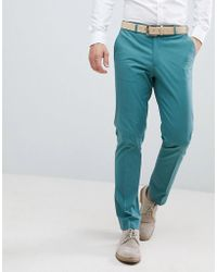 ASOS - Wedding Skinny Suit Pants In Stretch Cotton In Pine Green - Lyst