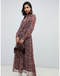 Vero Moda - Smudge Print Dobby Maxi Dress In Brown - Lyst