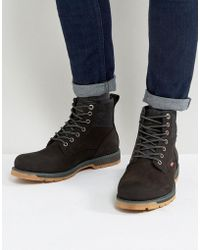 Levi's - Logan Leather Boots With Denim Detail In Black - Lyst