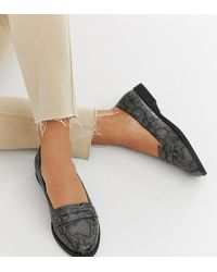 dc2669a7bfda ASOS - Wide Fit Minny Flat Shoes In Grey Snake - Lyst