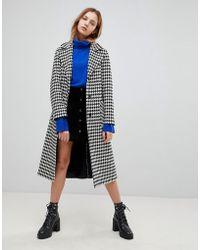 Helene Berman - Wool Blend Longline Houndstooth Belted Coat - Lyst