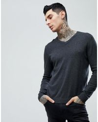 ASOS - Asos Cotton V-neck Jumper In Charcoal - Lyst
