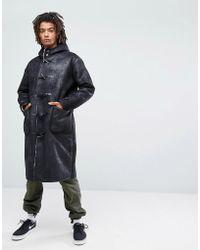ASOS - Asos Faux Shearling Duffle Coat In Black - Lyst